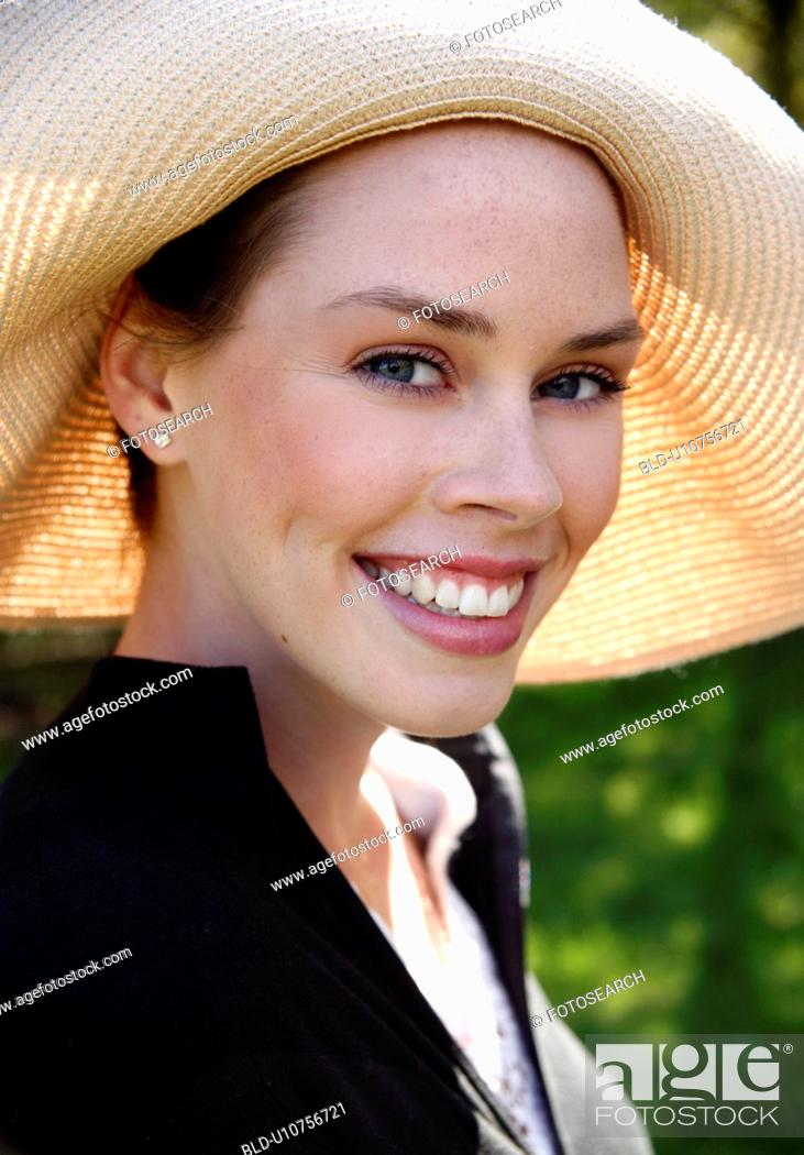 Stock Photo: Portrait of young woman.