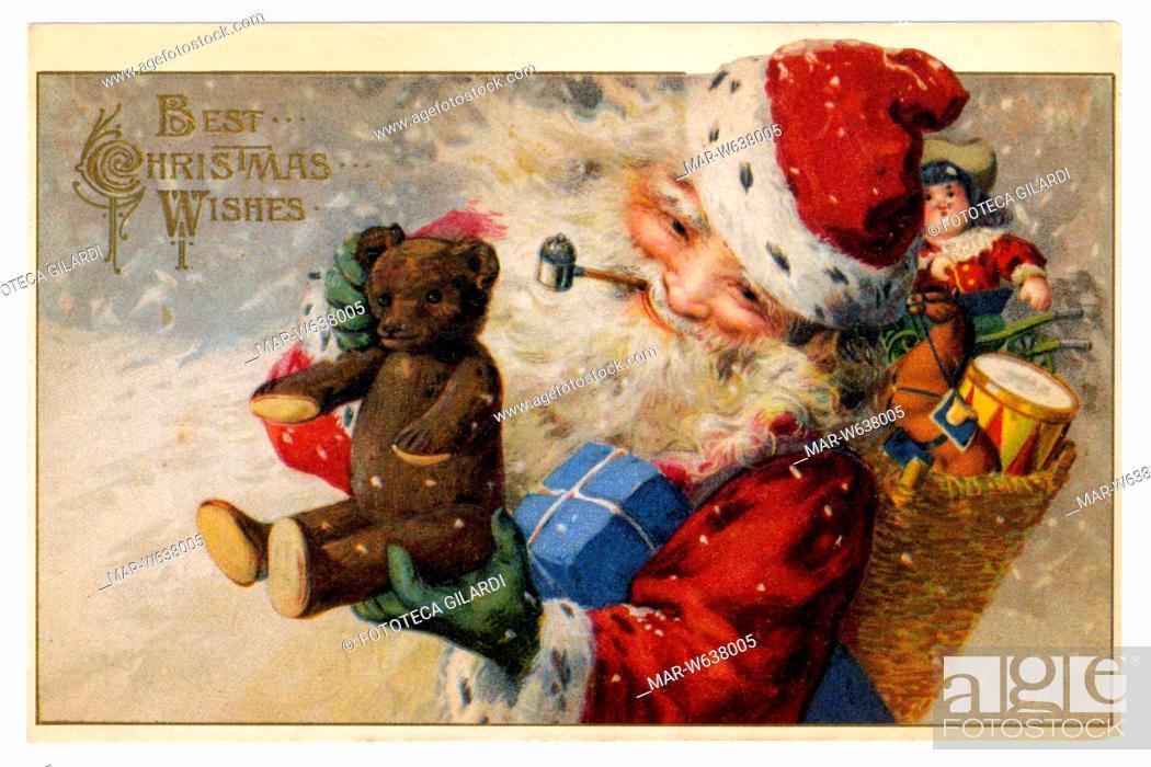 Stock Photo: BABBO NATALE Cartolina augurale statunitense che raffigura Santa Claus carico di giocattoli che sceglie il classico orsacchiotto (chiamato Teddy Bear nei paesi.