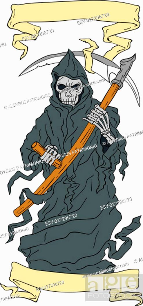 Drawing sketch style illustration of the grim reaper holding scythe