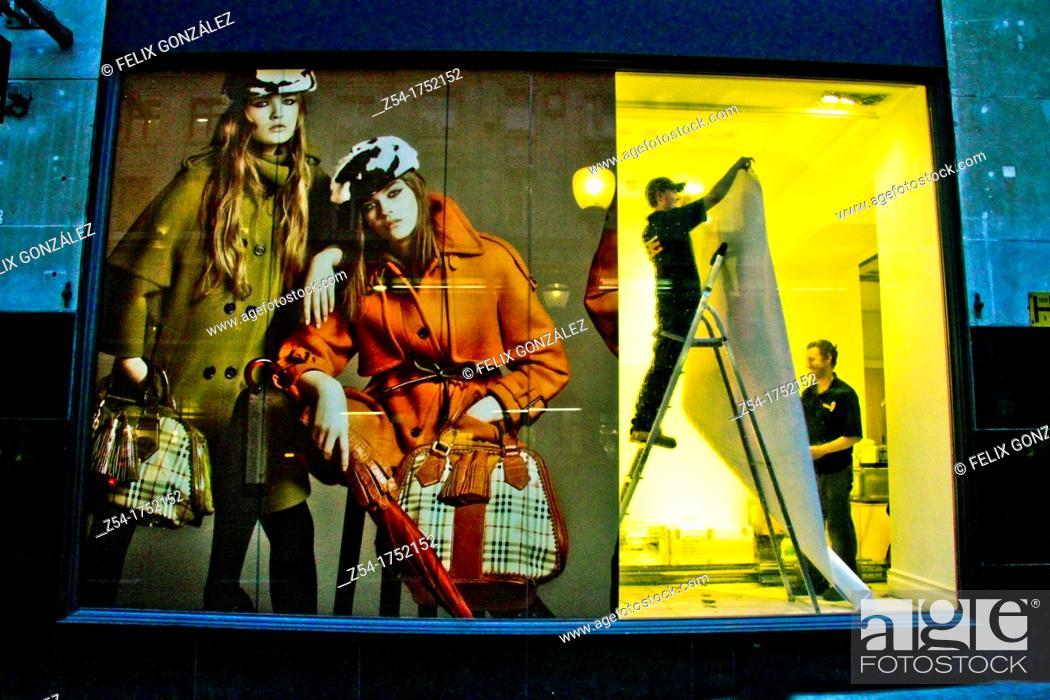 Stock Photo: Fashion window shop at London, England.