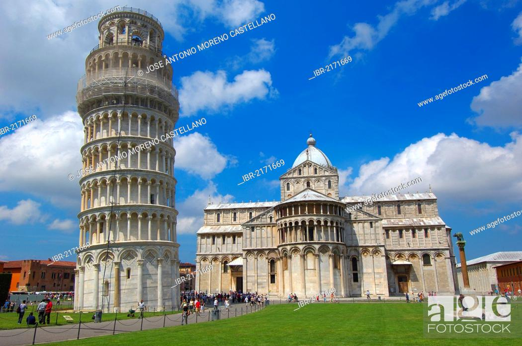 Stock Photo: Duomo, cathedral, Leaning Tower, Piazza del Duomo, Cathedral Square, UNESCO World Heritage Site, Campo dei Miracoli, Pisa, Tuscany, Italy, Europe.