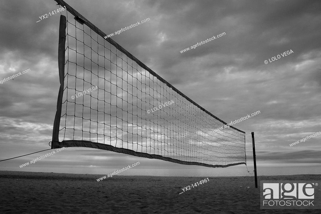 Stock Photo: Volleyball net on the beach, Mataro, Catalonia, Spain.