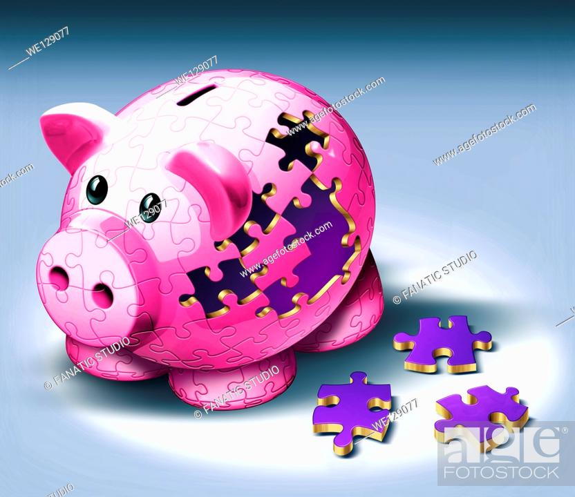 Stock Photo: Illustrative image of jigsaw pieces fallen from piggy bank representing payment of EMI.