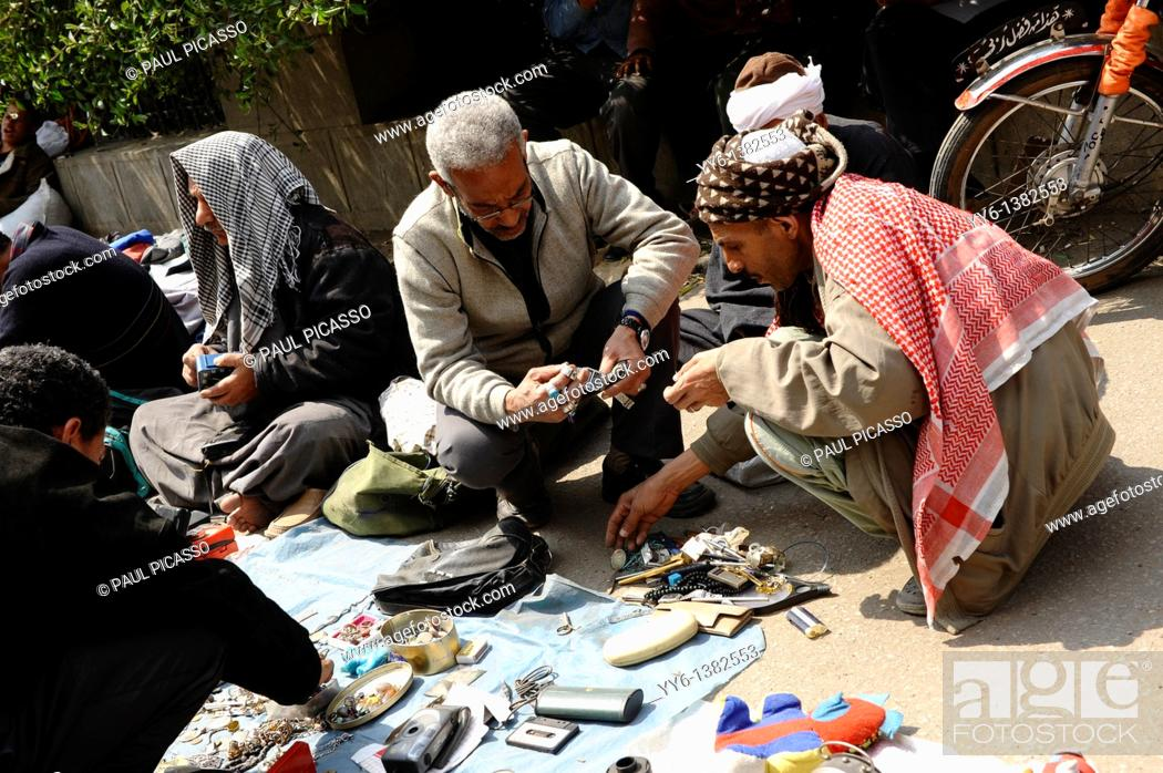 Stock Photo: traders and customers at souk goma friday market , Southern Cemeteries , Khalifa district , cairo , egypt.