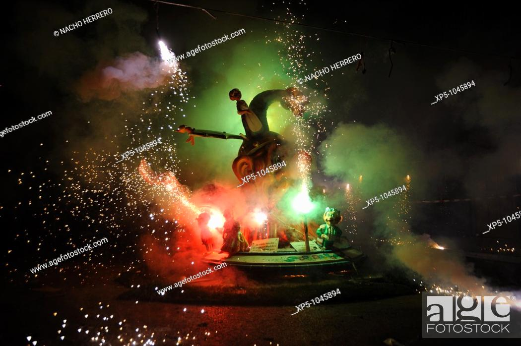 Stock Photo: La Cremà (the burning), Fallas, Valencia, spain.