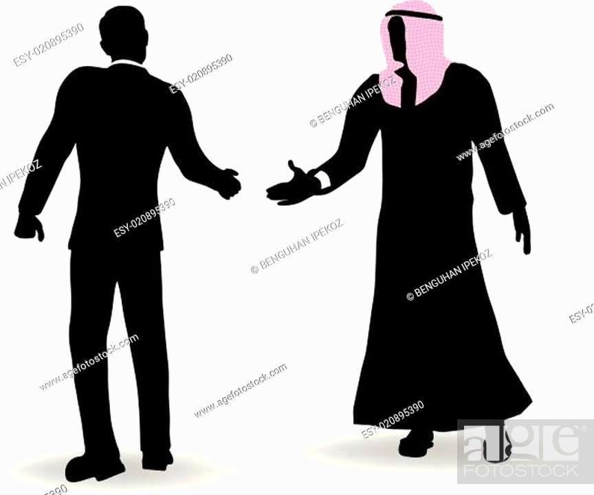 Stock Vector: Doing business in middle east hand shake on business agreement.