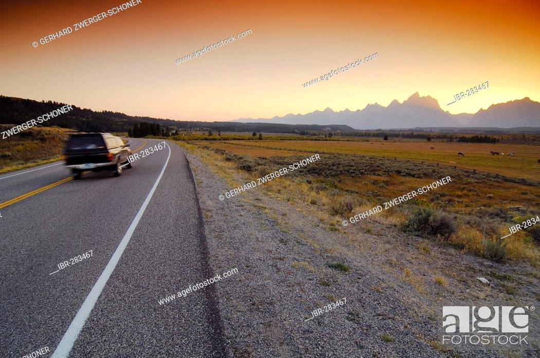 Stock Photo: Road in the Grand Teton National Park, Wyoming, United States of America.