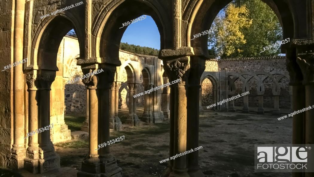 Stock Photo: Cloister Ruins. San Juan de Duero Monastery. Soria. Spain.