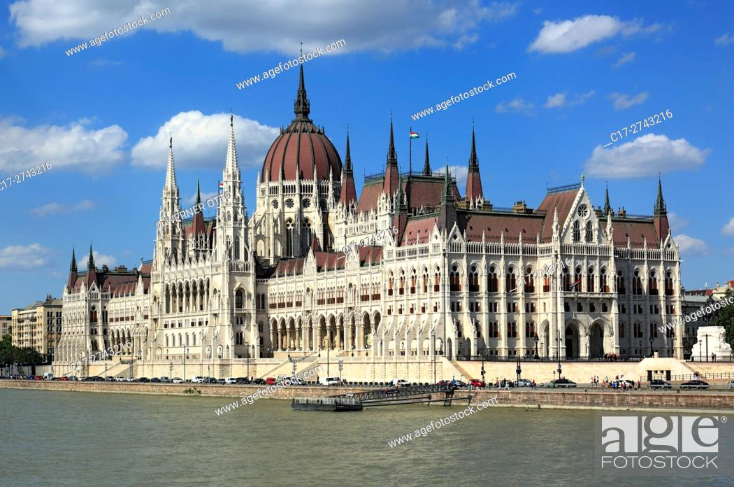 Stock Photo: Hungary, Central Hungary, Budapest, Danube, Capital City, Hungarian Parliament, parliament building by Imre Steindl at the Danube bank, Gothic Revival, landmark.