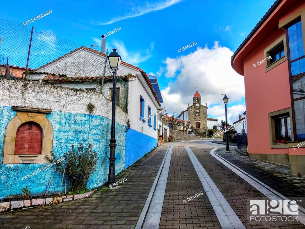 Stock Photo: Torazo village, Cabranes municipality, Comarca de la Sidra, Asturias, Spain.