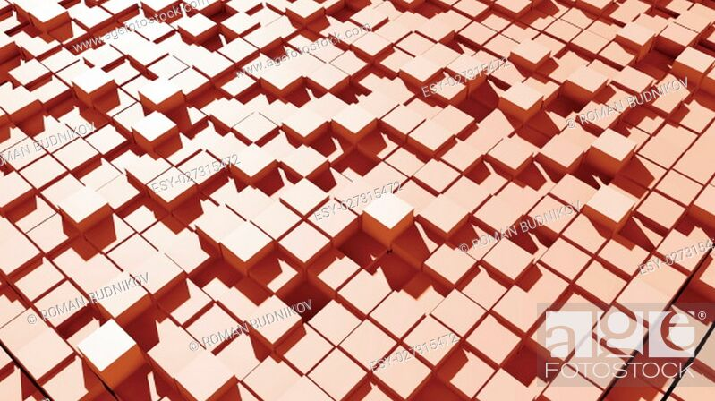 Stock Photo: Abstract surface of moving cubes. 3D rendered.