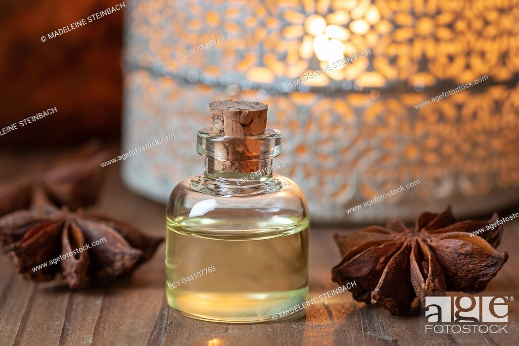 Stock Photo: A bottle of essential oil with star anise.