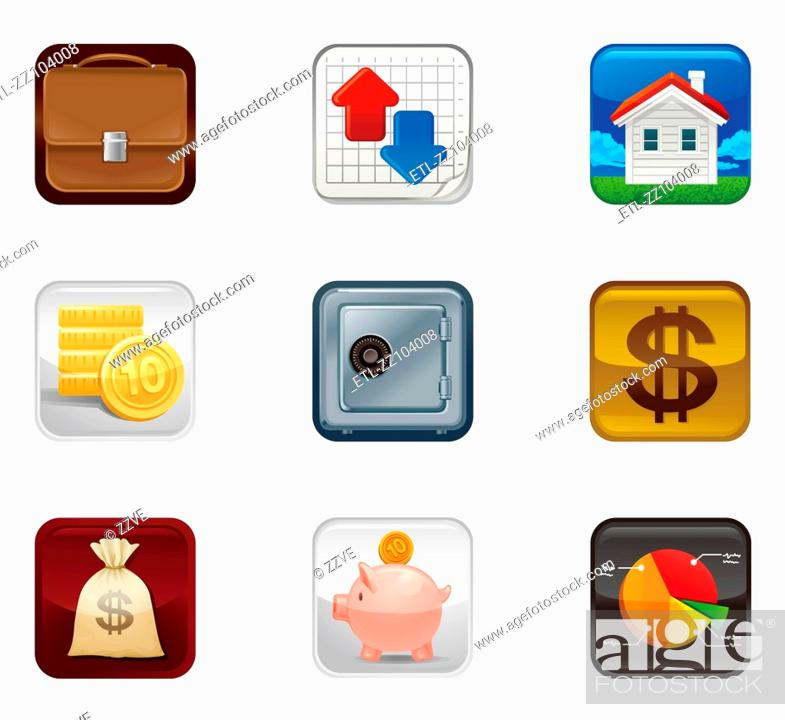 Stock Photo: Finance saving Icon set.
