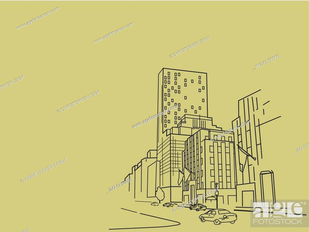 Stock Photo: An illustration of highrise buildings.