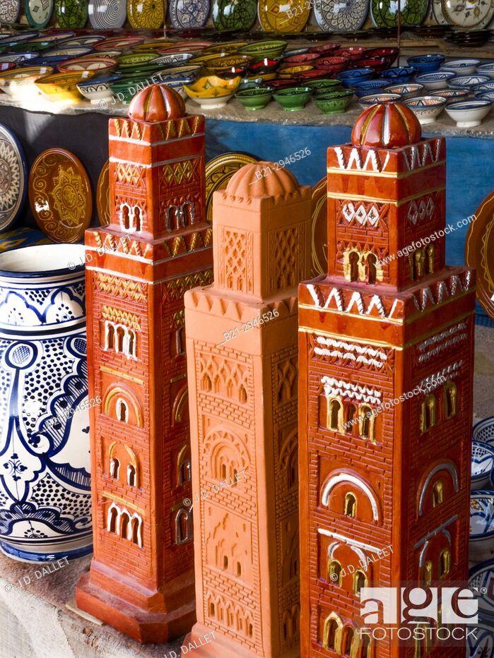 Stock Photo: Morocco, Handicraft, Ceramic, mosque's minars.