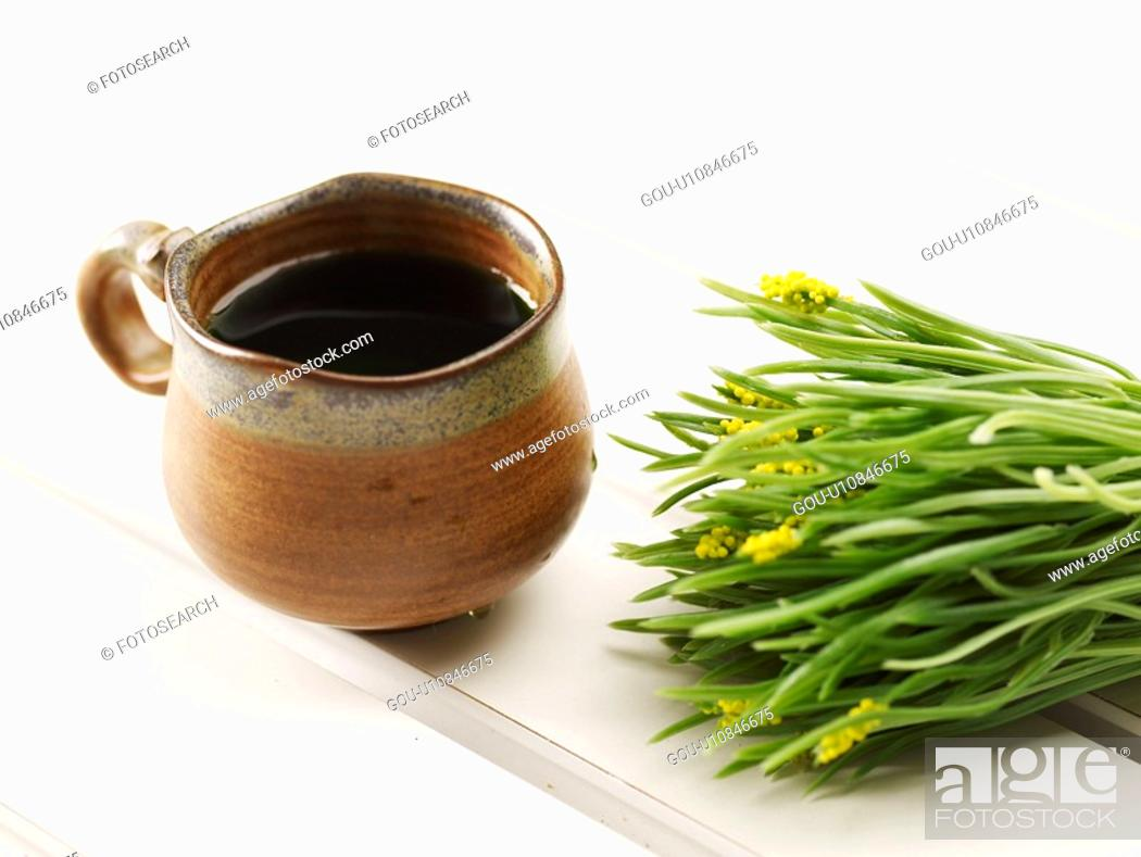 Stock Photo: cuisine, ceramic cup, food, plant, flower, tea-things.