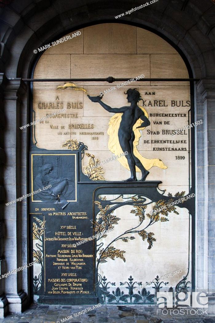 Imagen: Art Nouveau Memorial to Charles Buls by Victor Horta Grand Place Brussels Belgium.