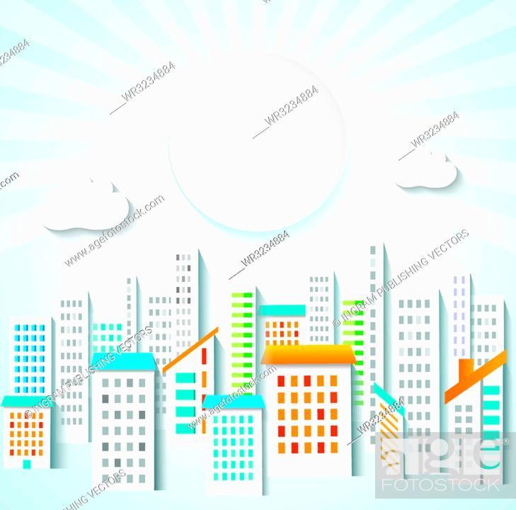 Stock Vector: Urban background. Town panorama.