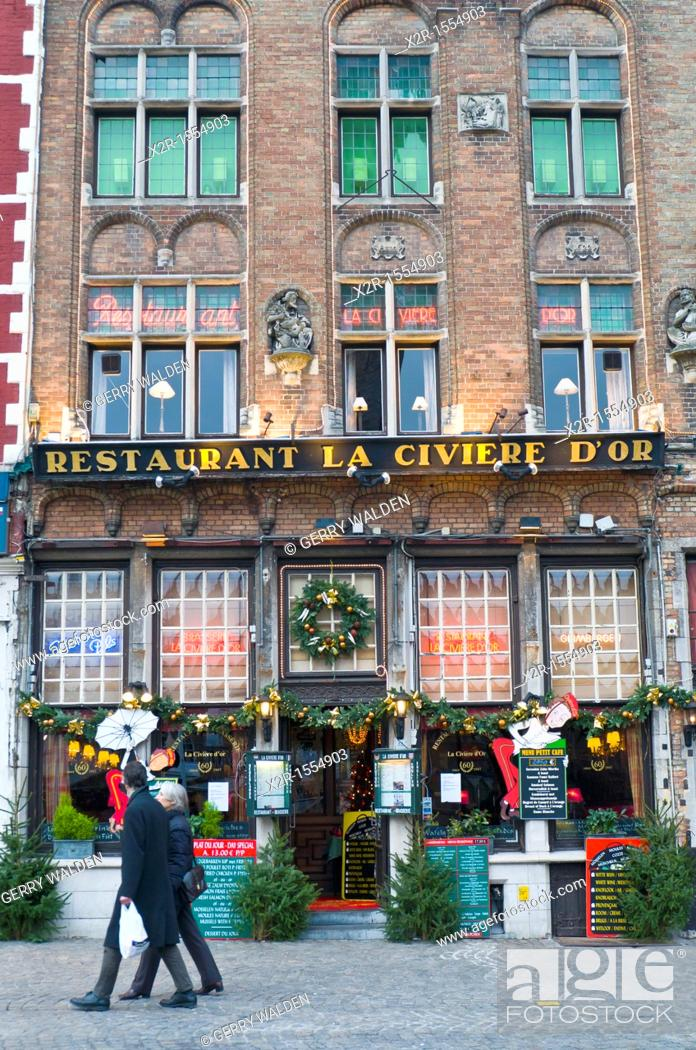 Stock Photo: Restaurant in the centre of Brugge, Flanders, Belgium shown just prior to Christmas.