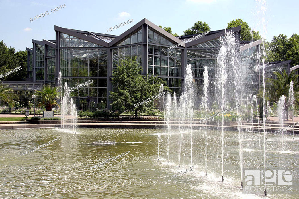 Stock Photo: Germany, Hesse, Frankfurt on the Main, palm-garden, greenhouse, water-game, Europe, city, buildings, sight, garden, grounds, ornament-garden, season, summers.