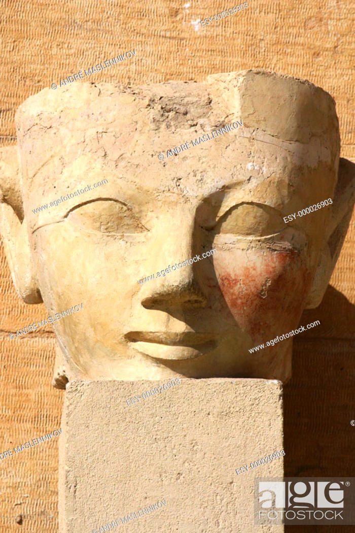 Stock Photo: Sculpture at Temple of Hatshepsut. Deir el Bahri. Thebes, Luxor. Egypt.