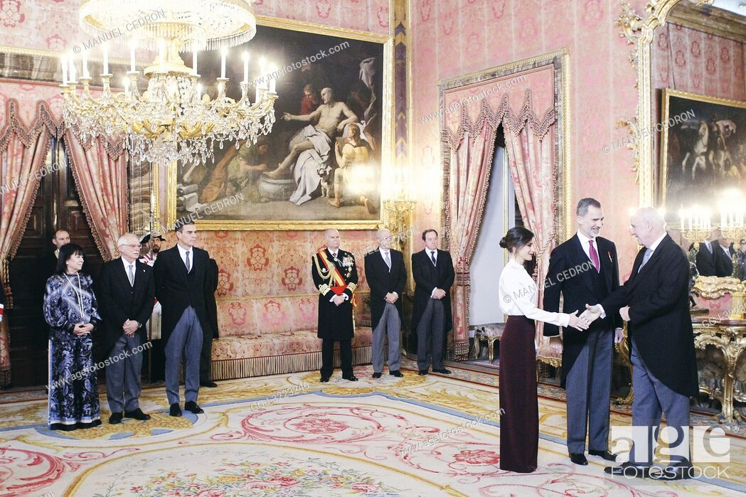 Stock Photo: King Felipe VI of Spain, Queen Letizia of Spain attends the Foreign Ambassadors reception at The Royal Palace on January 22, 2019 in Madrid, Spain.