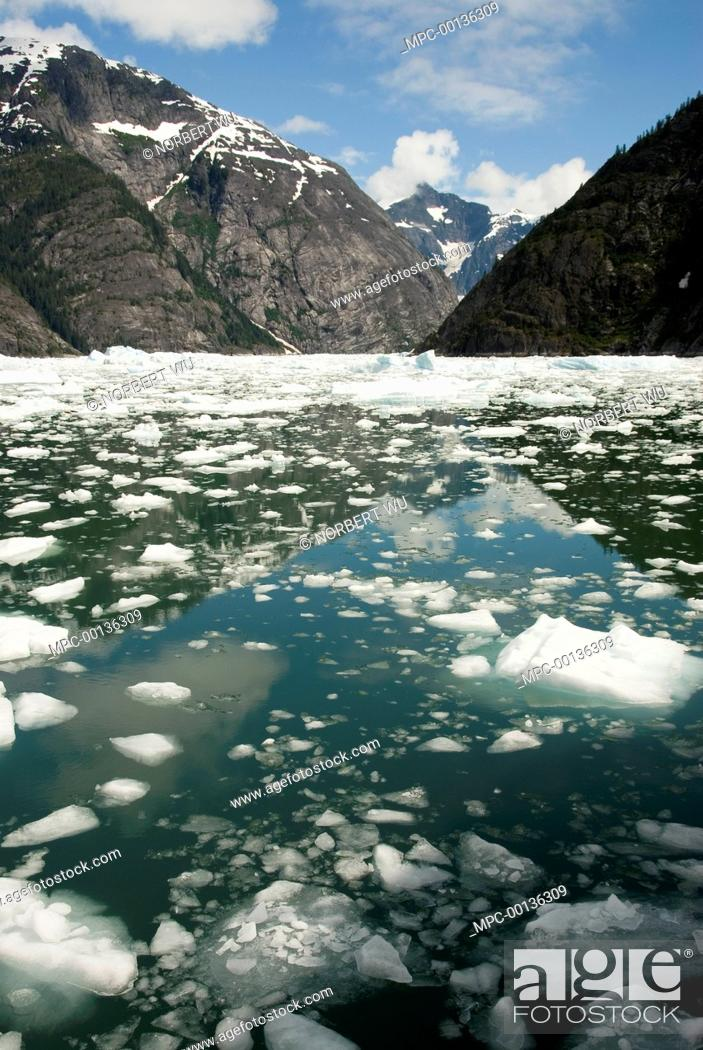 Stock Photo: LeConte Glacier receding, showing evidence of global warming, LeConte Bay, Alaska.