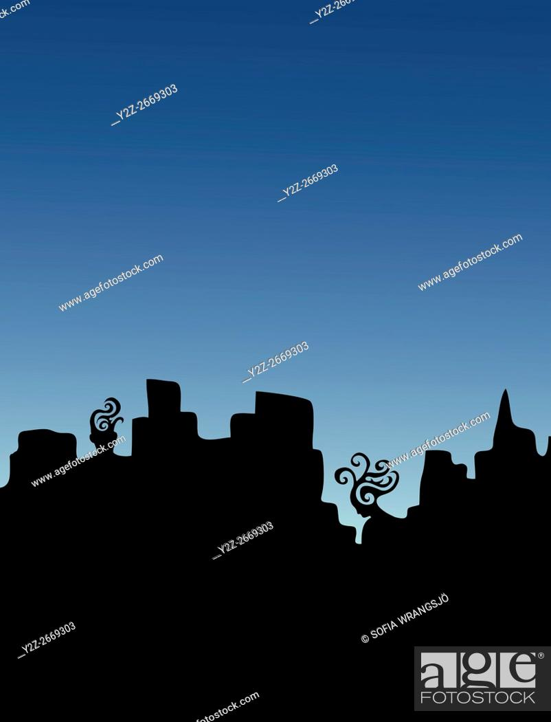 Stock Photo: A man and a woman as part of a silhouetted city skyline. Thinking of each other.