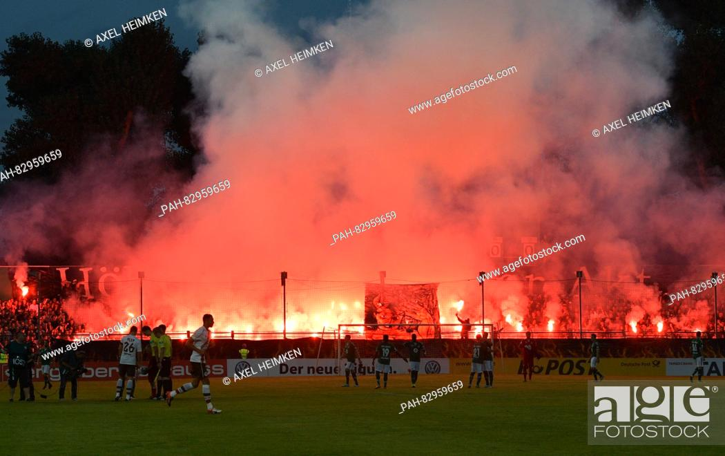 Fans Of Luebeck Lit Up Fireworks At The Dfb Cup Soccer Match Between Vfb Luebeck And Fc St Stock Photo Picture And Rights Managed Image Pic Pah 82959659 Agefotostock