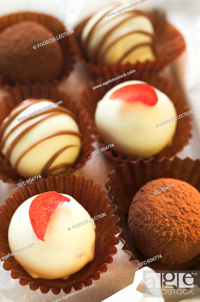 Stock Photo: A selection of chocolates close-up.