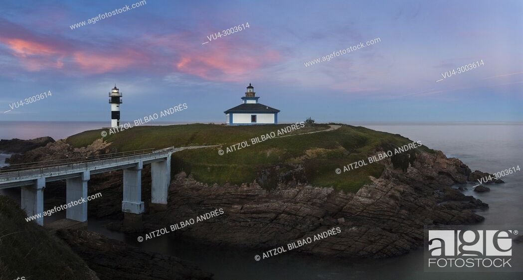 Stock Photo: Pancha island, a really small island wich only haves this lighthouse, sunset is the best moment to take a picture there, Ribadeo, Spain.