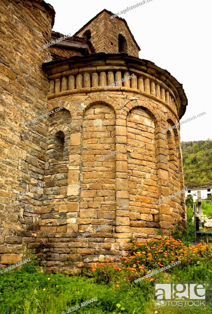 Stock Photo: San Martín church (Mozarabic, 10th century). Oliván. Valle de Tena. Huesca province. Aragon. Spain./ La llamada Ruta del Serrablo, 'las Iglesias que lo componen.