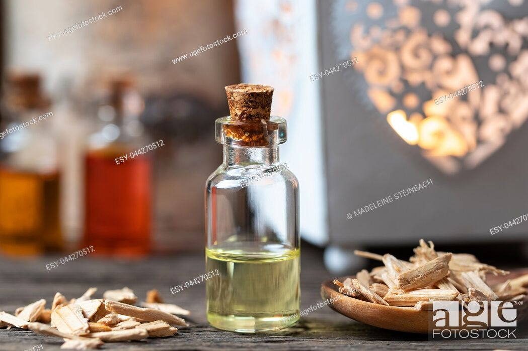 Stock Photo: A bottle of essential oil with cedar wood chips.