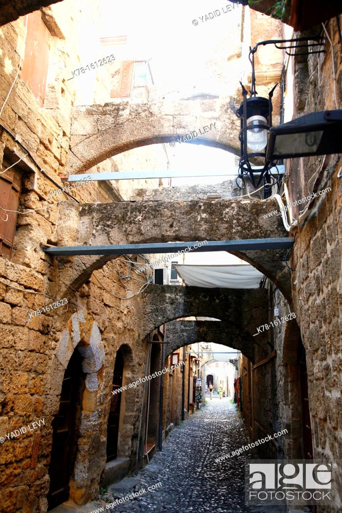 Stock Photo: Street in the Rhodes old Town, Rhodes, Greece.