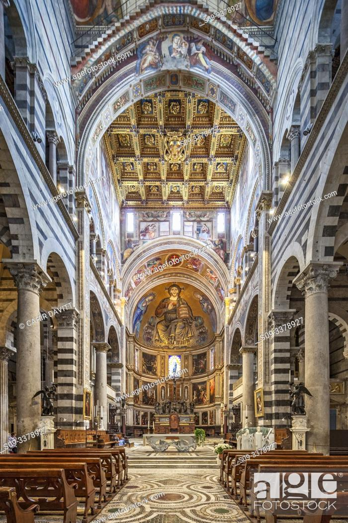 Stock Photo: The mosaic of Christ in Majesty above the altar of Pisa Cathedral, Pisa, Tuscany, Italy.
