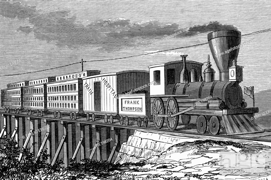 Stock Photo: Train to transport wounded soldiers. Nashville, during the civil war. Antique illustration. 1865.