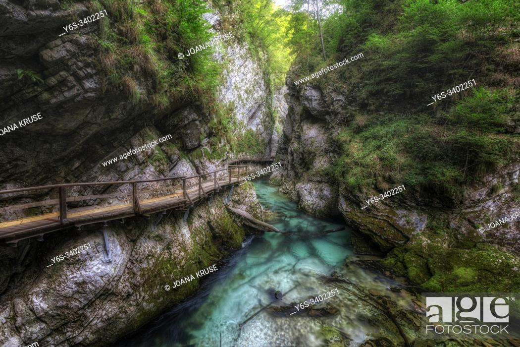 Stock Photo: Vintgar Gorge, Bled, Upper Carniola, Slovenia, Europe.