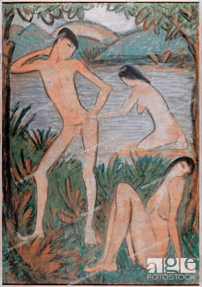 Stock Photo: fine arts, Mueller, Otto 1874 - 1930, painting, Die großen Badenden, Municipal Collesction Bielefeld, German, expressionism, nude, man, woman, bathing.
