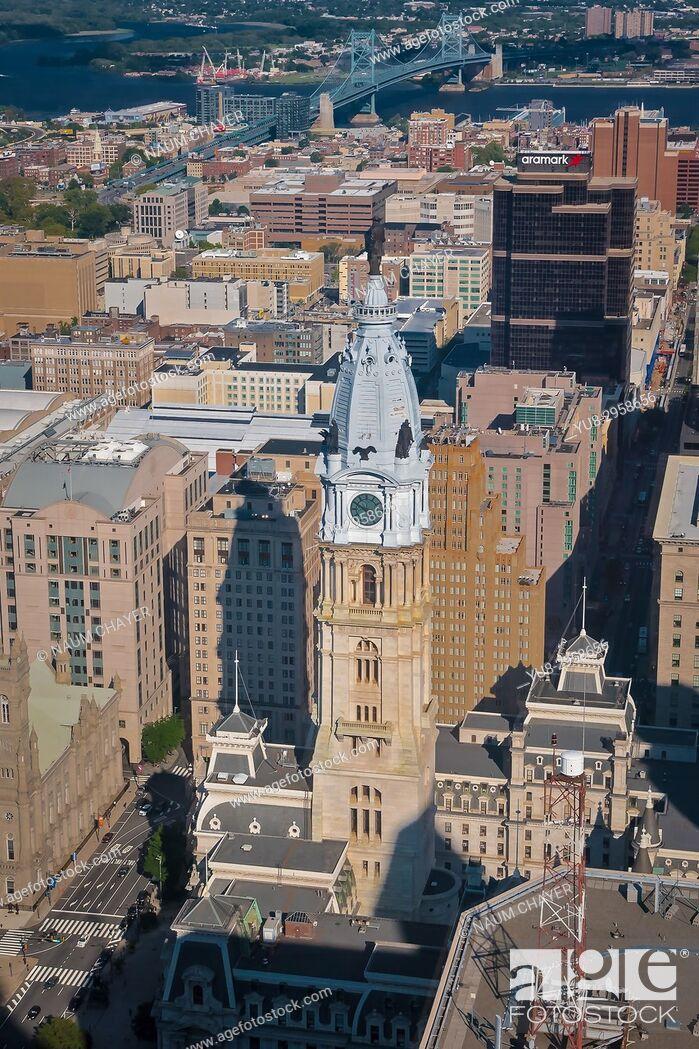 Stock Photo: Beautiful vew of Philadelphia from One Liberty Observation Deck, Philadelphia, Pennsylvania, USA.