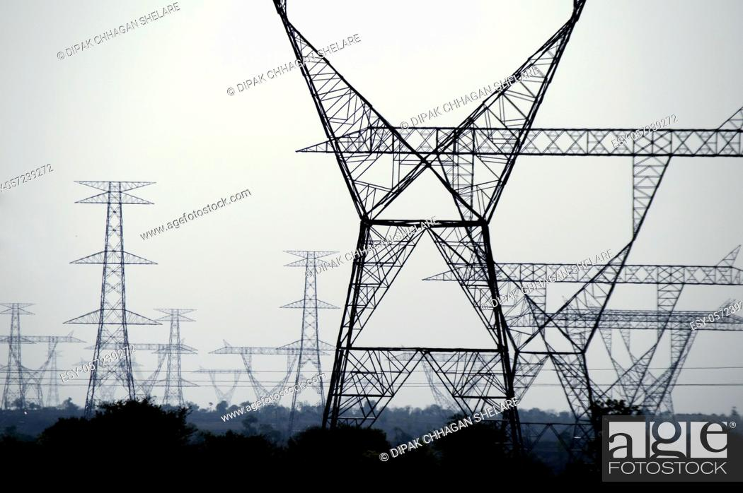 Stock Photo: high voltage post, High voltage tower on blue sky background.