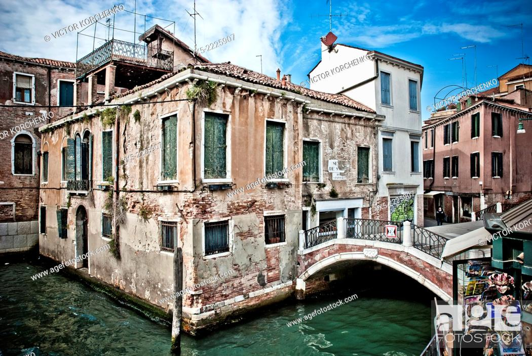 Stock Photo: Derelict buildings in Venice.