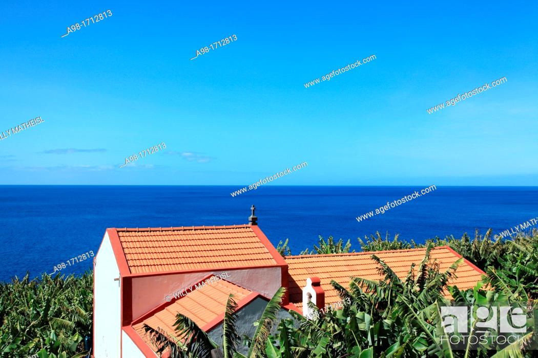 Stock Photo: farm building and chapell in banana field plantation on the island of Madeira, Portugal, Europe.