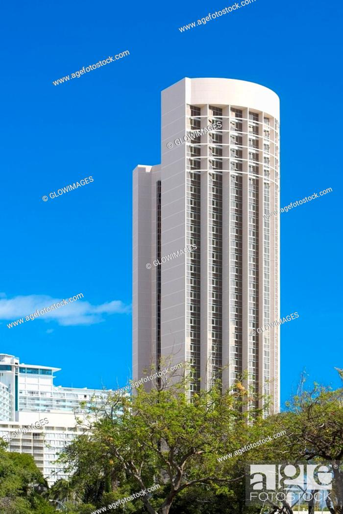 Stock Photo: Low angle view of a skyscraper in a city, Honolulu, Oahu, Hawaii Islands, USA.