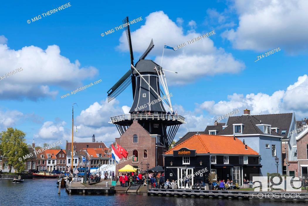 Stock Photo: De Adriaan windmill along the river Spaarne, Haarlem, North Holland, The Netherlands.