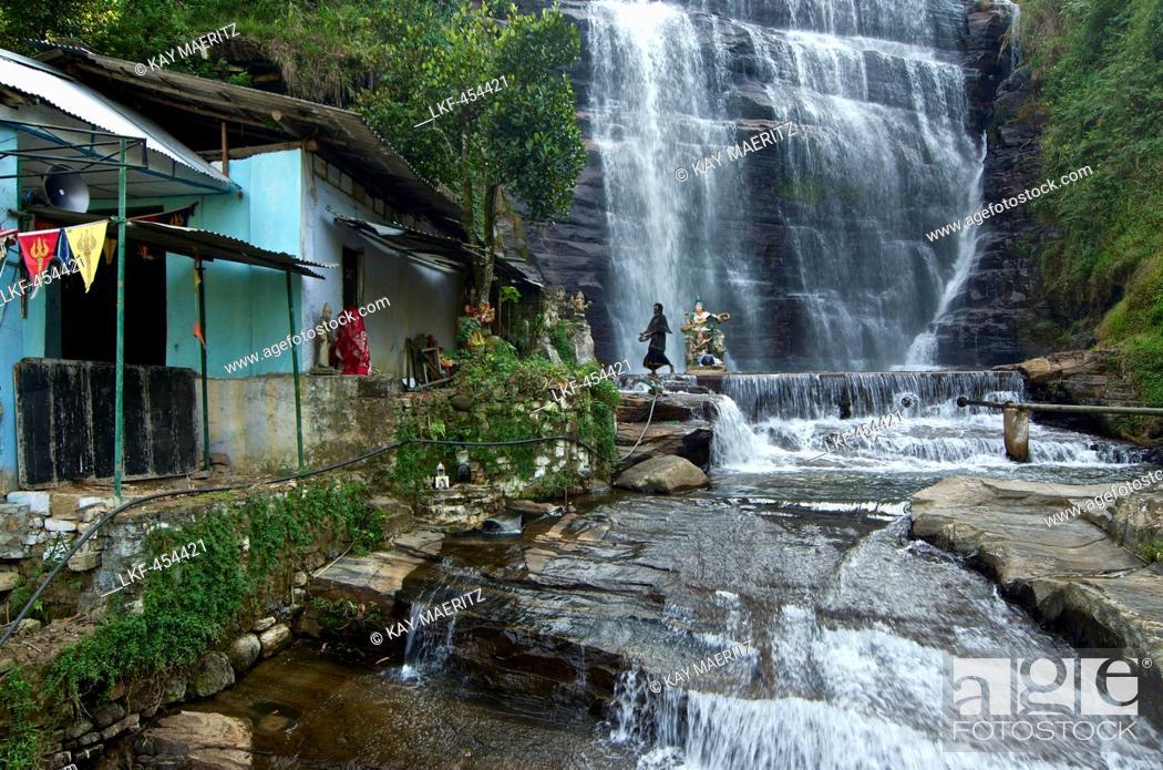 Stock Photo: Hindu temple and waterfall in the vincinity of Nuwara Eliya, highlands, Sri Lanka.