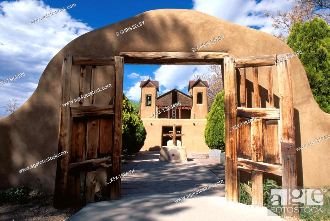 Stock Photo: Santuario Nuestro Senor de Esquipulas Church in Chimayo, New Mexico, USA.