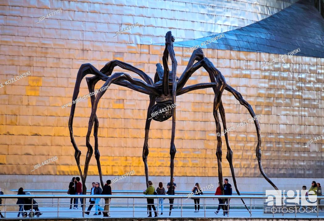 Stock Photo: Maman, spider sculpture in front of Guggenheim Museum, by artist Louise Bourgeois, Bilbao, Biscay, Basque Country, Spain.