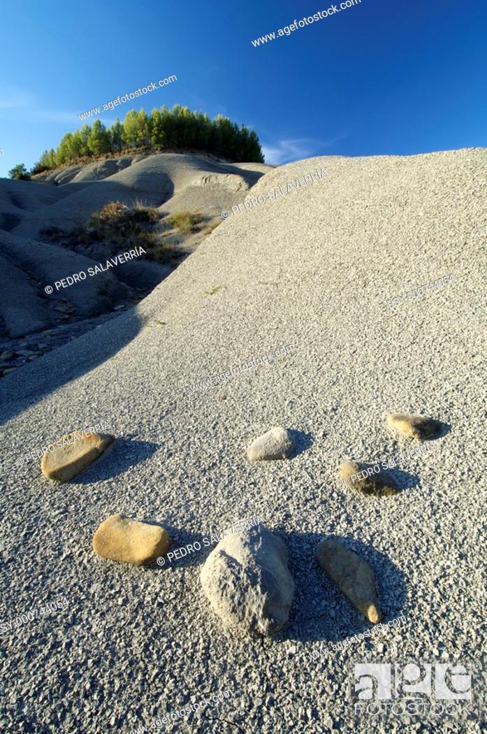 Stock Photo: Loam landscape, Artieda around Yesa Dam, Pyrenees, Saragossa, Aragon, Spain.