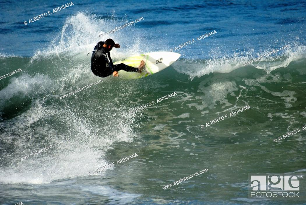 Stock Photo: Surf on the beach of San Antolin Llanes, Asturias.