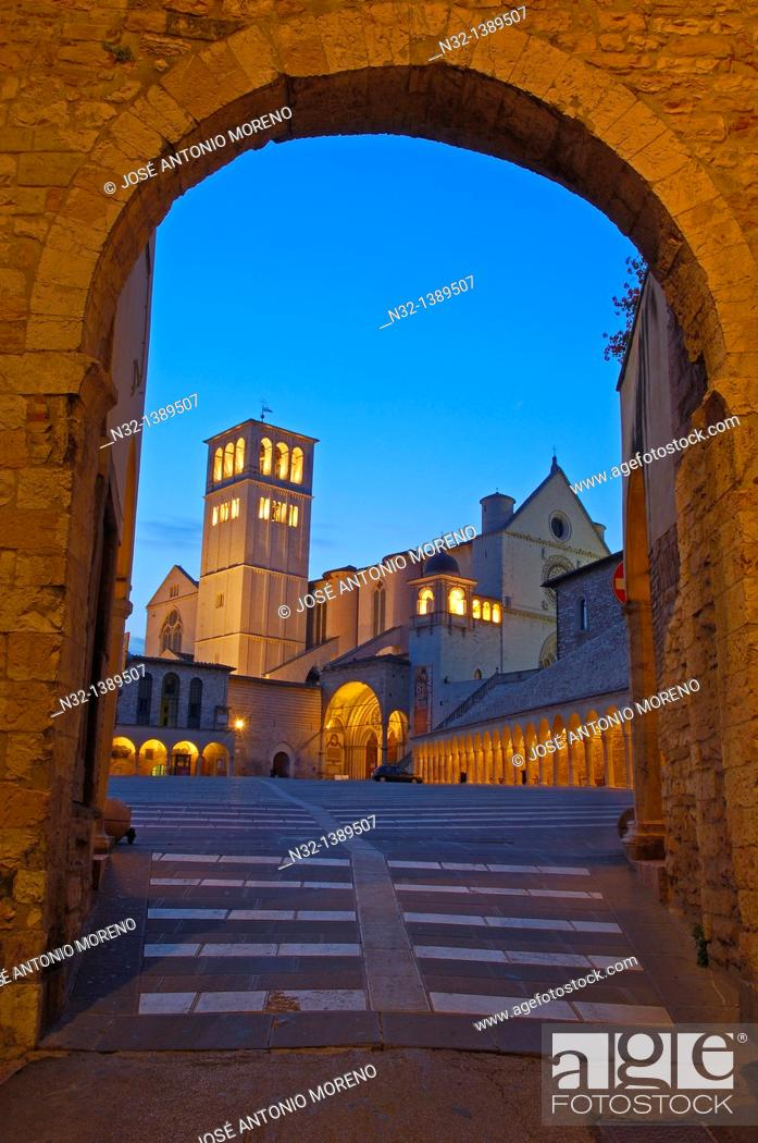 Stock Photo: Assisi, Basilica di San Francesco, Basilica of Saint Francis at Dusk, UNESCO World Heritage site, Perugia province, Umbria, Italy.